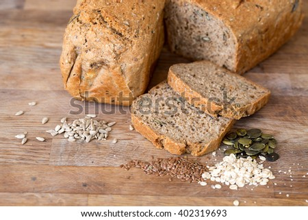 homemade bread with seeds - stock photo