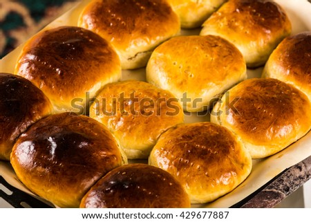 Homemade buns - stock photo