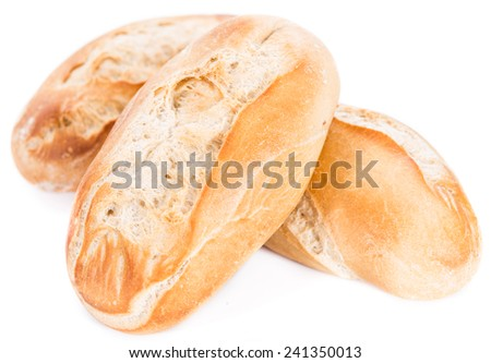 Homemade Buns (close-up shot) isolated on pure white background - stock photo
