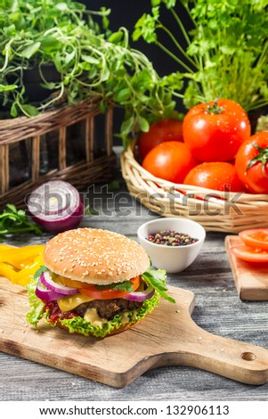 Homemade burger made �¢??�¢??from fresh vegetables - stock photo