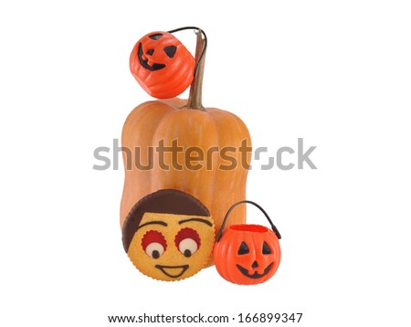 Homemade Butter Cookie Face Halloween Pumpkins isolated on white background - stock photo