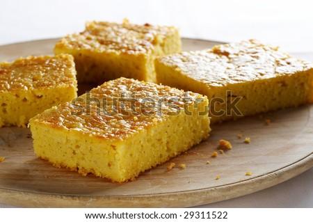 Homemade cake made of corn flour - stock photo
