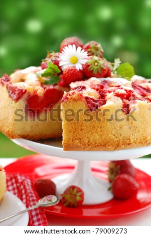 homemade cake with strawberries on the table in garden - stock photo