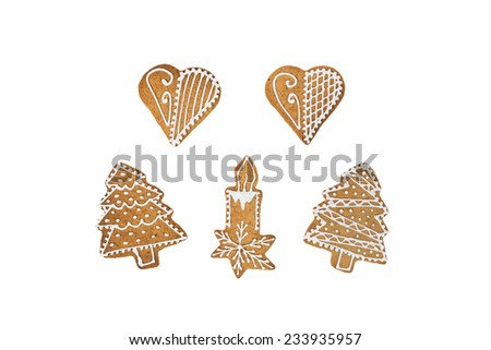 Homemade candle,christmas trees, hearts for love in decoration gingerbread and honey cookies on nice christmas theme on white background. - stock photo