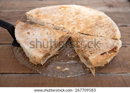 Homemade cheese, and apple pie - stock photo