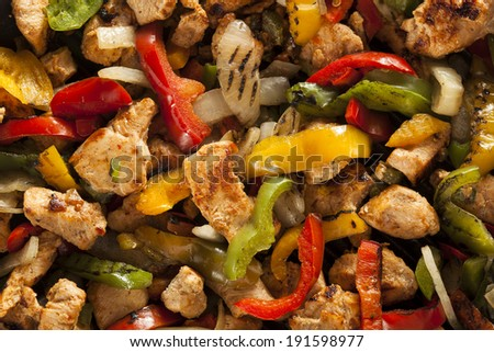 Homemade Chicken Fajitas with Vegetables and Tortillas - stock photo