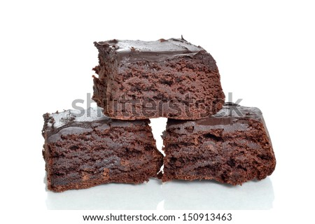 homemade chocolate brownies isolated white background - stock photo