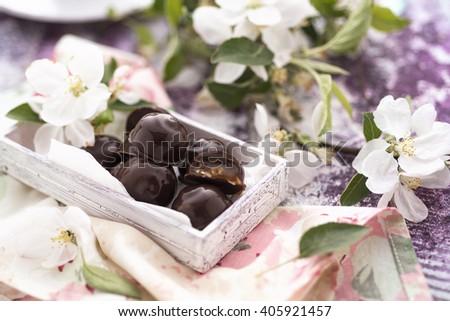 Homemade chocolate candies - stock photo
