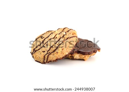 Homemade Chocolate chip and almond Topped with Nuts isolate on white background - stock photo