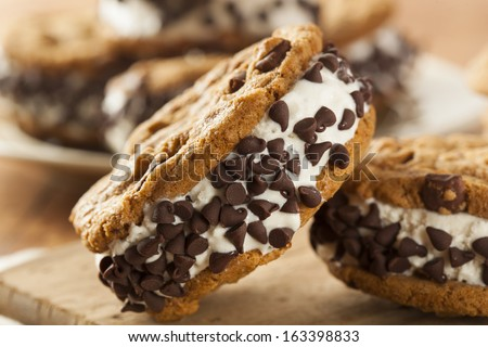 Homemade Chocolate Chip Cookie Ice Cream Sandiwch - stock photo