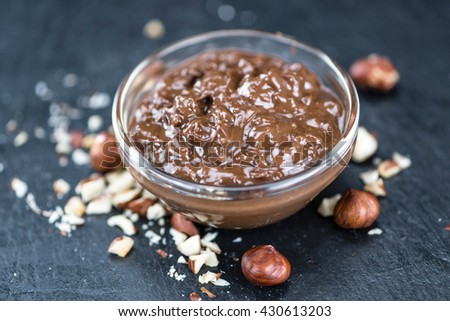 Homemade Chocolate Cream (selective focus; close-up shot) on vintage background - stock photo
