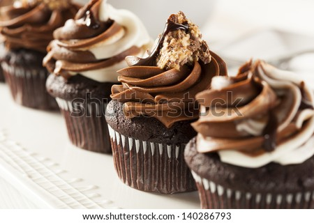 Homemade Chocolate Cupcake with chocolate frosting against a background - stock photo