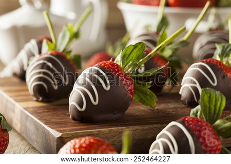 Homemade Chocolate Dipped Strawberries Ready to Eat - stock photo
