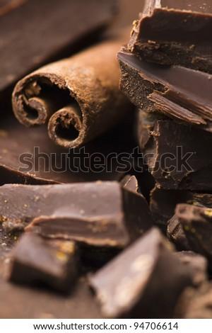 Homemade chocolate with cinnamon - stock photo