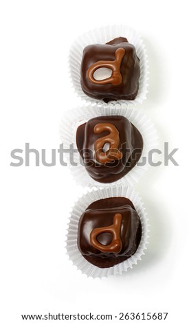 Homemade chocolates are a delicious and easy treat for the kids to make dad on Father's day - stock photo