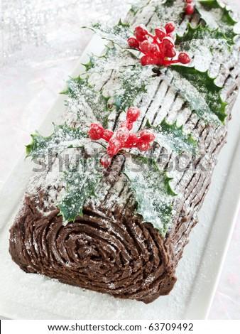 Homemade christmas chocolate yule log. Shallow dof. - stock photo