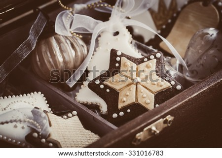 Homemade christmas cookies in wooden gift box. Selective focus - stock photo