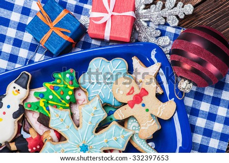 homemade Christmas gingerbread cookies on the plate - stock photo