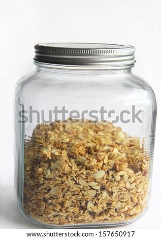 homemade coconut almond granola - stock photo