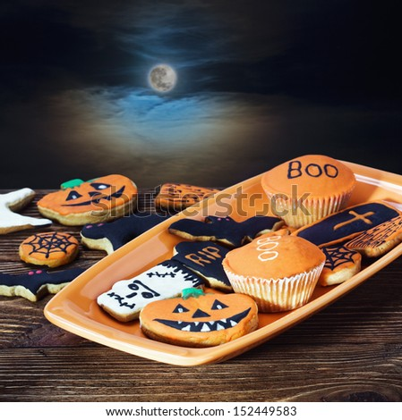 homemade cookies for the holiday Halloween night sky - stock photo