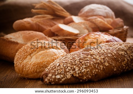 Homemade cooking made from whole wheat and grains with breads - stock photo