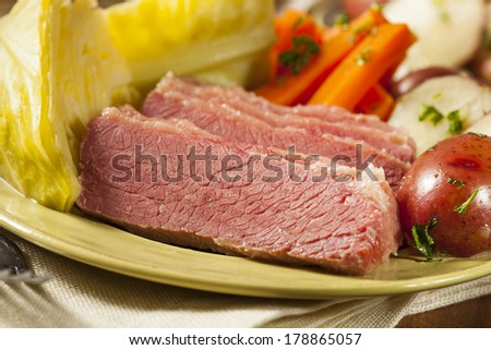 Homemade Corned Beef and Cabbage with Potatoes and Carrots - stock photo