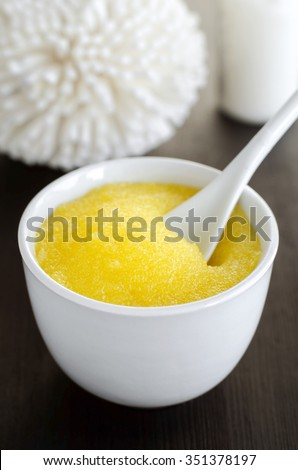 Homemade cosmetic scrub in a bowl - stock photo