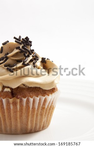Homemade cupcake with toffee frosting and chocolate sprinkles - stock photo