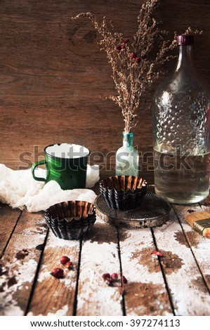 Homemade  cupcakes onto an wooden background. Rustic style. Homemade fresh pastries. Food background. Basic Vanilla cupcakes.  - stock photo