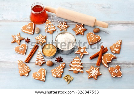 homemade delicious christmas gingerbread cookies - sweet food - stock photo