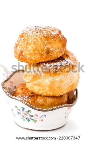 homemade donuts isolated on white. Selective focus. - stock photo