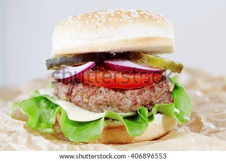 Homemade fit cheeseburger - stock photo