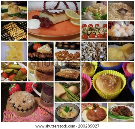 Homemade food. Collage of different food. - stock photo