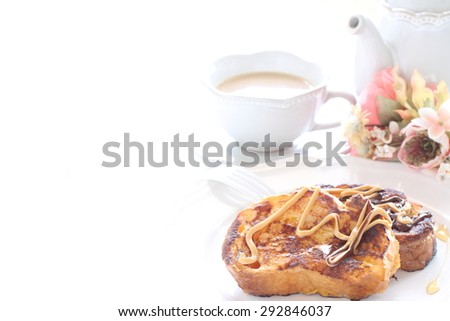 Homemade french toast with peanut butter and honey  - stock photo