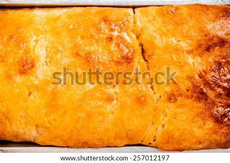 Homemade Fresh Baked Bread, Vintage Rustic Still Life Style / Concept and Idea of Breakfast, Food, Bakery, Dessert Pastry. Close up Full Frame. - stock photo