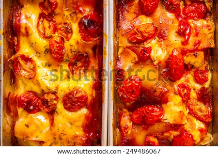 Homemade Fresh Lasagna topped with Melted Cheese and Tomato, Oven Baked, Italian Cuisine, Home Cooking Food Delicious. Close up Full Frame / background, textures and wallpaper. - stock photo