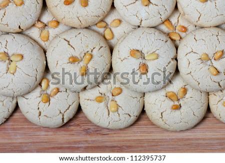 homemade fresh tahini cookies on cutting board - stock photo