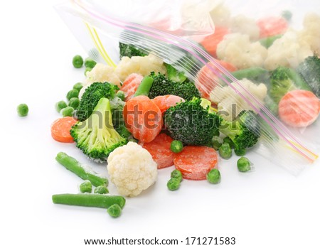 homemade frozen vegetables - stock photo