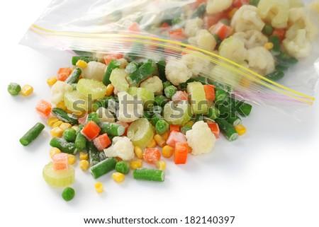 homemade frozen vegetables in freezer bag - stock photo