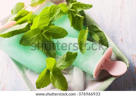 Homemade fruit ice, mint sorbet. Selective focus - stock photo