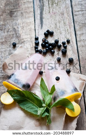 Homemade fruit ice with mint and bilberry - stock photo