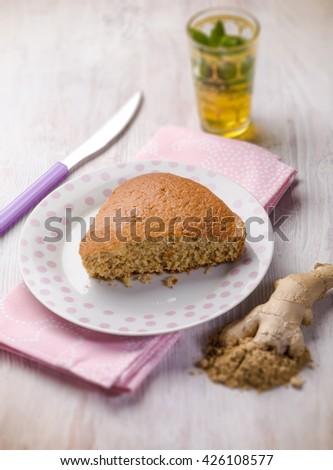homemade ginger cake, selective focus - stock photo