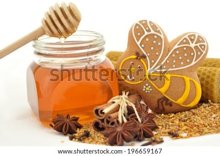 Homemade gingerbread bee cookies with spices and honey - stock photo