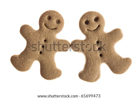 Homemade Gingerbread man cookie isolated on white background - stock photo