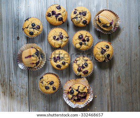 Homemade Gluten free vegan quinoa and brown rice muffins with blueberries  - stock photo