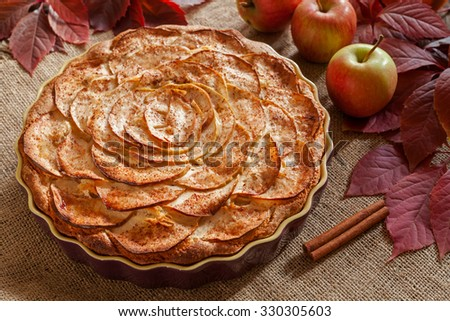 Homemade gourmet apple pie baked sweet traditional dessert with cinnamon and apples on vintage background. Celebration holiday delicious tart. Rustic style and natural light - stock photo