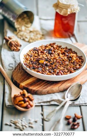 Homemade granola, selective focus - stock photo