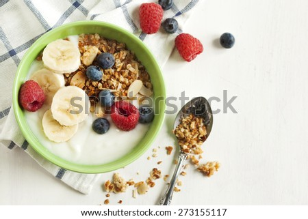 Homemade granola with yogurt and berry - stock photo