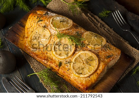 Homemade Grilled Salmon on a Cedar Plank with Dill - stock photo
