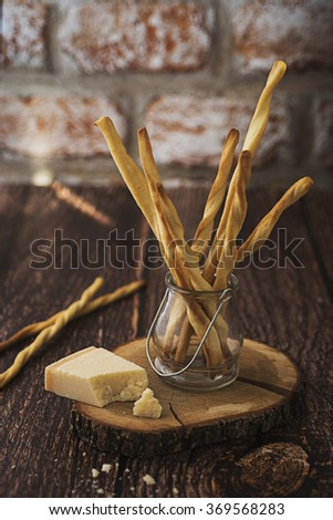 Homemade Grissini with Parmesan cheese - stock photo